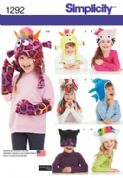 1292 Simplicity Pattern: Child's Hat and Mittens in Three Sizes